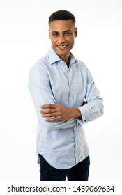 Small business owner,entrepreneur, people and success concept. Portrait of Happy confident young african american businessman smiling and felling proud. Isolated on white background.