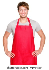Small business shop owner. Apron man smiling proud and happy isolated on white background. Young entrepreneur or shop assistant. Young Caucasian male model.