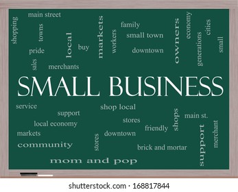 Small Business Word Cloud Concept on a Blackboard with great terms such as shop, local, community, support, stores and more.