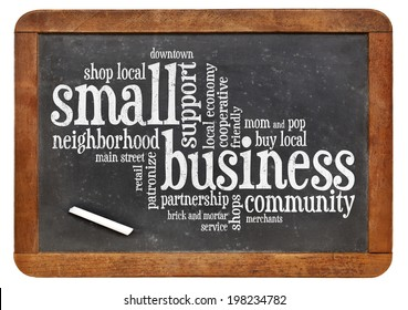 small business word cloud on a vintage slate blackboard