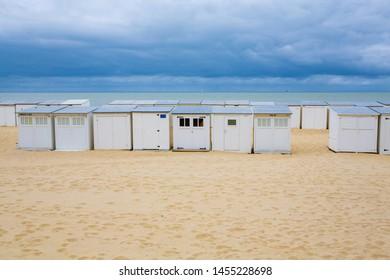 Small cabins on the beach in Blankenberge, Flanders, Belgium, 07-15-2019
