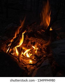 Small camp fire at dusk in the mountains of Tennessee