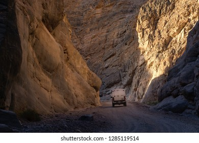 Small camper in Titus Canyon at sunset at Death Valley National Park, CA, USA