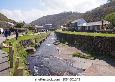 Small canal running into the small fishing village og Boscastle in Cornwall, England