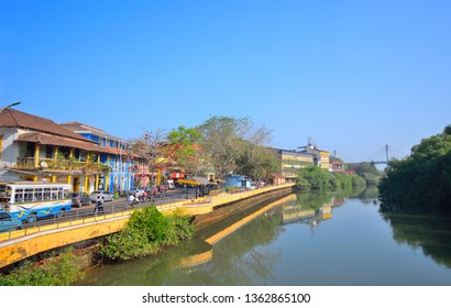 A small canal running through Panaji in Goa.