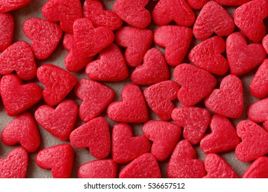 Small candy hearts, closeup