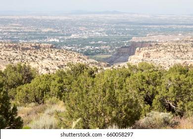 Small canyon and the town of Farmington, New Mexico