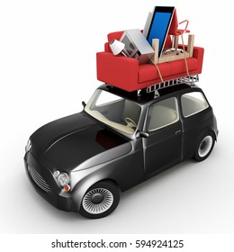 Small car carrying furniture on its roof 3D rendering