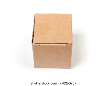 Small cardboard box isolated on white background