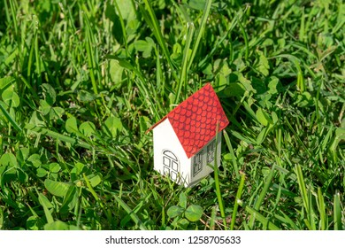 a small cardboard house in strava on the field - Shutterstock ID 1258705633
