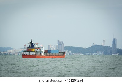 Small cargo Ship in the Gulf of Thailand