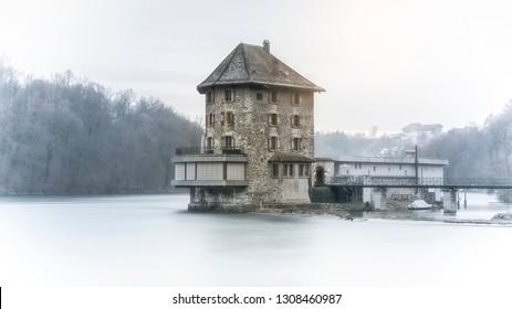 small castle called Schloessli Woerth near the Rhinefalls in Switzerland, longterm exposure