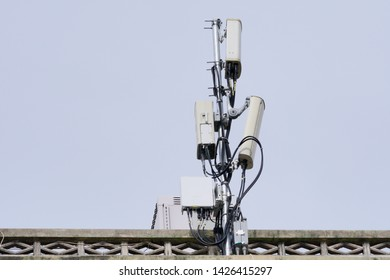 Small Cell/3G, 4G, 5G. Micro Base Station or Base Transceiver Station. Wireless Communication Antenna Transmitter on the building roof. Development of communication system in urban area.