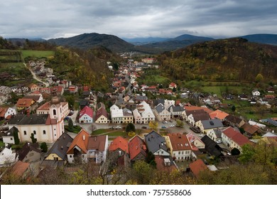 Small central european town surrounded by hills and forest in autumn time, Stramberk, The Cyech Republic