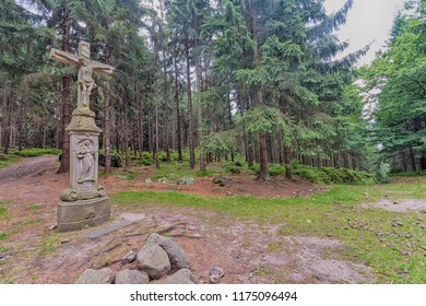 Small chapel on  mountain trail in Table Mountains. Góry Stołowe, Poland.