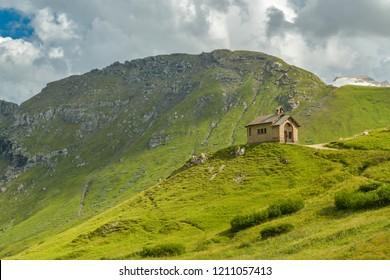 Small chapel in Passo Pordoi in Italian Dolomites
