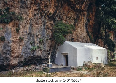 Small chapel in Samaria Gorge National Park of Greece on Crete island, Greece