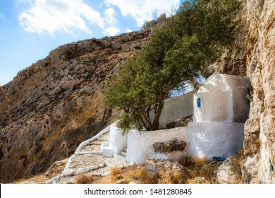 Small Chapel at the Spring of Zoodochos Pigi in the Hillside above Kamari on Beautiful Santorini, Greece