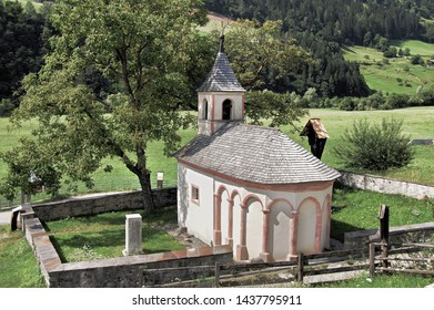The small chapel of St. Leonard immersed in the nature of the Val Passiria in South Tyrol