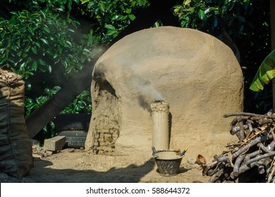 Small charcoal incinerator in the countryside, Thailand.