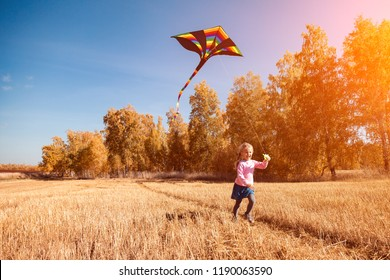 A small cheerful girl with blond hair smiles, enjoys nature and plays with a kite on a warm autumn sunny day in the background of a field and yellow trees. The concept of livestyle and family outdooor