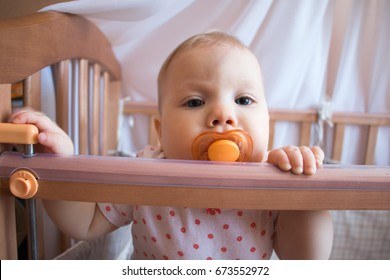 Small child in a baby cot in the room