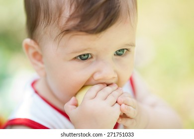 small child eats an apple on the nature of the summer