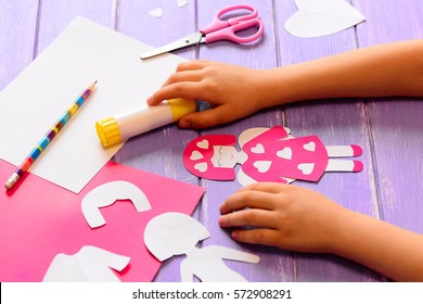 Small Child Made Angel Doll Cardboard The Arts Stock Image 572908291