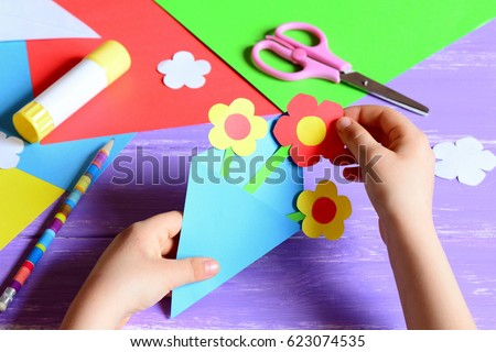 Small Child Makes Paper Crafts Mothers Stock Photo Edit Now