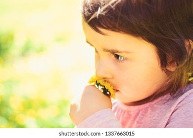 Small child. Natural beauty. Childrens day. Springtime. weather forecast. face and skincare. allergy to flowers. Little girl in sunny spring. Summer girl fashion. Happy childhood. Natural beauty.