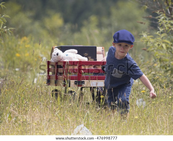 small child pulling his red wagon with a stuffed bear and suitcase in the wagon on summer day in the country.