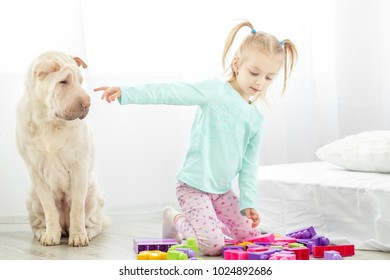 A small child is in the room with a dog. The concept of lifestyle, childhood, upbringing, family.