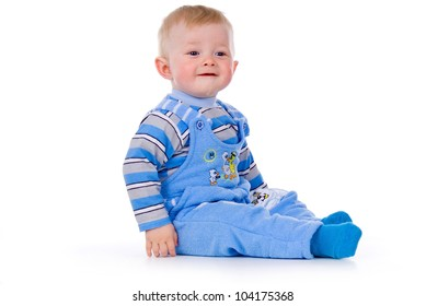a small child sits and laughs, isolated on white background