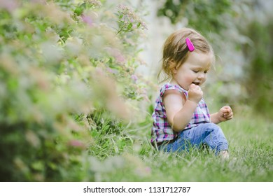 The small child sits on the grass