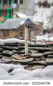 a small chimney on a small house in kasol village in himachal pradesh, India. Almost every house have this types of small chimneys in their home.