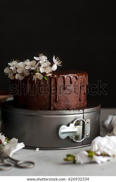 Small chocolate cake with flowers
