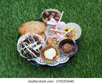 small chocolate cakes and cookies on a plat, sited on a grass
