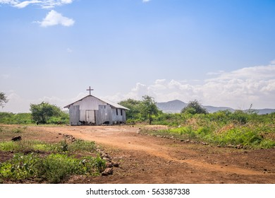 Small christian church in rural african area
