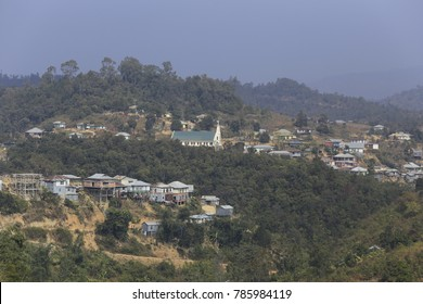 A small christian town of Mizoram,  A north eastern state of India. The majority population follows Christianity here and so a well made church is a defining building in all the cities.