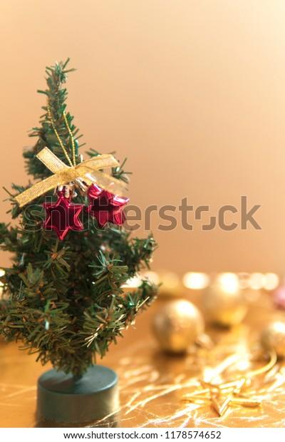 Small Christmas Tree Decoration Red Stars Stock Photo Edit