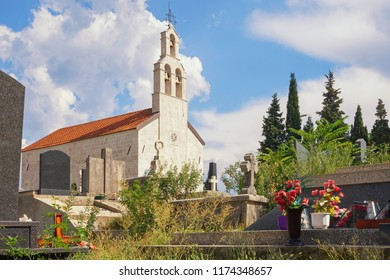 Small church with churchyard against the sky. Montenegro, Niksic, Bogetici village