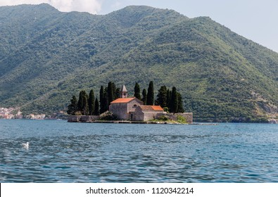 Small Church on San Georges island in Kotor bay, Montenegro