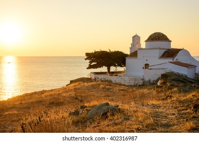 Small church of Panagia Flampouriani (the Virgin Mary of Flampouriani) with a tiled cupola at Flampouria in Kythnos, Greece