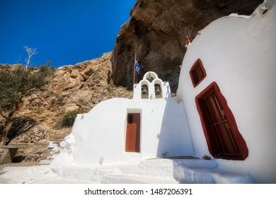 Small Church, Panagia Katefiani, in the Mesa Vouno Rock between Perissa and Kamari on Beautiful Santorini, Greece