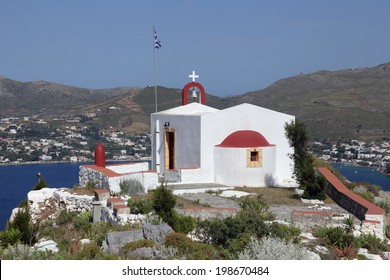 small church with panoramic view on Leros island, Greece