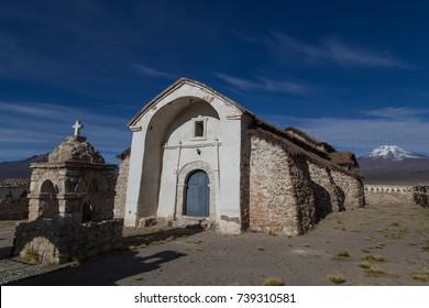 The small church in Sajama in the Sajama National Park in Bolivia.