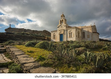 Small church at  side of road near Isternia at Tinos in Greece