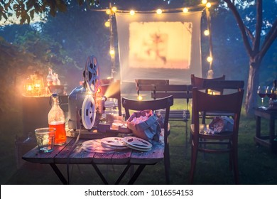 Small cinema with old analog films in the evening