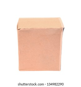 Small closed cardboard box isolated on white background