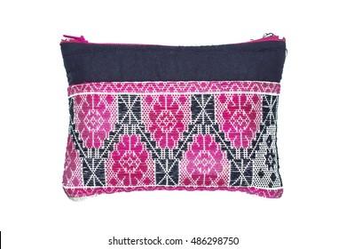 Small cloth bag woven pink black
